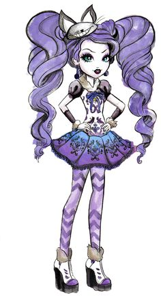 Kitty Cheshire official art from Ever After High Arte Monster High, Monster High Dolls, Ever After High Rebels, Chibi Kawaii, Personajes Monster High, Ever After Dolls, Arte Disney, Adventures In Wonderland, Cosplay