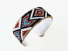 Beadwork & Faux Leather Cuff Bracelet - Native American Beadwork Leather Style Bracelet - Tribal Bead Loom Pattern Design Cuff Bracelet - $69.99 - Handmade Jewelry, Crafts and Unique Gifts by SpiritWolfArtistry