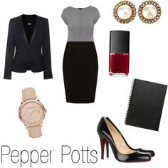 how to dress like Pepper Potts - helpful as by default I will be this for Halloween this year. (and by default I mean Matt bought the light up chest IronMan costume).