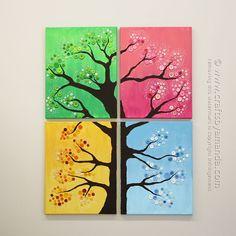 4 Seasons Button Tree Wall Art by Amanda Formaro, Crafts by Amanda