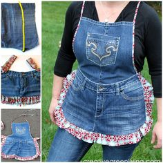 Create an attractive apron from old jeans . So cute ! Check out--> http://wonderfuldiy.com/wonderful-diy-farm-girl-apron-from-old-jeans/#