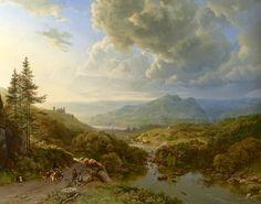 Sky with pine trees. - Dutch painter Barend Cornelis Koekkoek