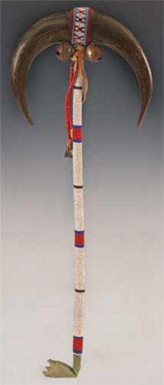 Staff | Sioux Dance Wand Beaded Handle Buffalo Horns 22 inch, 1880-1920
