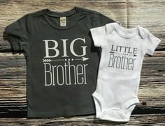 Big Brother/ Little sibling set, Big Brother shirt / little brother bodysuit, Big Brother shirt/ little sister bodysuit New Sibling, Sibling Shirts, Sister Shirts, Family Shirts, Little Brother Quotes, Big Brother Little Brother, Mama Bear Shirt, Cute Baby Clothes, Shirt Designs