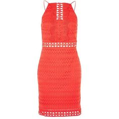 Topshop Crochet Lace Trim Mini Dress found on Polyvore featuring dresses, red party dresses, red crochet dress, crochet dress, short party dresses and red dress