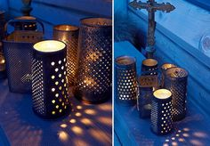 Rusty old graters become beautiful lanterns for a rustic outdoor party