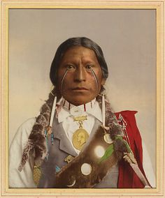 [Native American with a Medal of President Garfield] William Henry Jackson  (American, 1843–1942) Date: 1890–1910 Medium: Photochrom