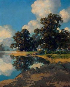 Sheltering Oaks by Maxfield Parrish, oil, 1956
