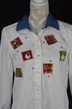 Womens Medium 8-10 White Christmas Long Sleeve Button Down Shirt Denim Collar #Unbranded #ButtonDownShirt