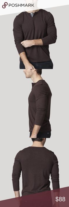 """Ashton Kutcher's pick: Life/After/Denim Henley You'll want to live in this one. Our Hachiko Henley is made from super-soft tri-blend jersey, giving it that true vintage worn-in feel. This one looks great and feels great on everyone - the one you'll want to have backups of. 50% Polyester, 38% Cotton, 12% Rayon tri-blend jersey. Chambray-trimmed placket and chambray details at back yoke. Super soft hand feel. """"Haichiko"""" Life After Denim Shirts Tees - Long Sleeve"""