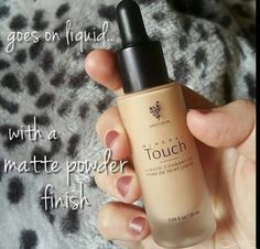 Younique Touch Liquid Foundation is available in ten shades. It goes on as a liquid, from a glass bottle with pipette dropper, then dries to a matte powder finish.