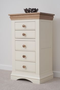 Country Cottage Painted Funiture Bedroom | Cream Tall Chest Drawers Oak Furniture Land www.oakfurnitureland.co.uk