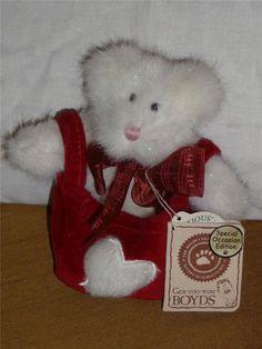 Retired Plush Boyds Bears Valentine Bear  ~ TLC Sparkleheart White 2001 #ValentinesDay