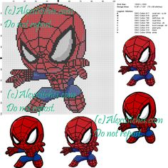 Spiderman cross stitch pattern 100x100 9 colors