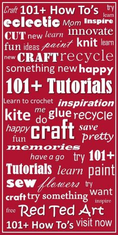 Red Ted Art's Blog - tutorials and how tos.   LOTS of crafts and how to's. Pin now and read later.