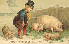 Happy new year Vintage Cards, New Beginnings, Vintage Postcards, Vintage Prints, Little Boys, Happy New Year, Fantasy, Piglets, Painting