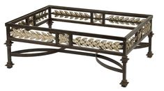 Wrough Iron Leaf Detail Apron Coffee Table With Stretcher  Base Only   Traditional, Transitional, Metal, Coffee  Cocktail Table by Gustav Carroll