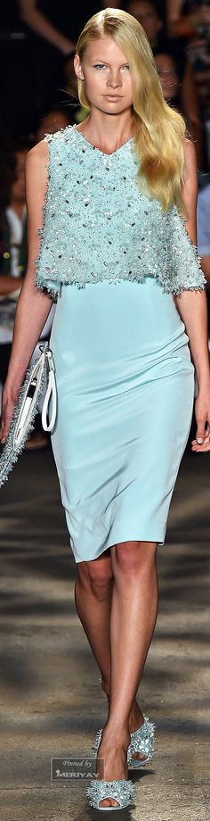 blue dress by Christian Siriano.Spring 2015.+
