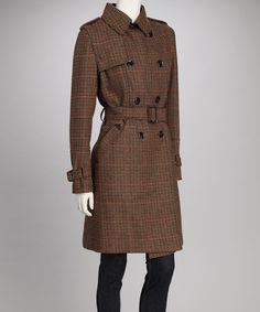 Take a look at this Brown Plaid Double-Breasted Wool-Blend Trench Coat - Women by Vince Camuto on #zulily today!