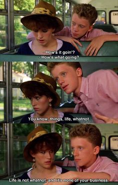 """Molly Ringwald, Anthony Michael Hall -- Sixteen Candles """"life and whatnot"""" Teen Movies, Iconic Movies, Classic Movies, Great Movies, Indie Movies, Forrest Gump, Movies Showing, Movies And Tv Shows, Best Movie Lines"""