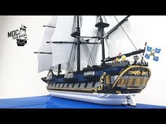 "Lego pirate ship MOC : "" La Grenouille "", The Bluecoat Frigate. Bateau Pirate Lego, Bateau Lego, Lego Pirate Ship, Pirate Art, Lego Ship, Pirate Ships, Lego Boat, Pirate Boats, Lego Models"