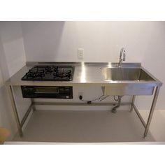 フレームキッチン間口1800×奥行600×高さ850【FRAME-W180-60】 Dirty Kitchen, Mini Kitchen, Kitchen Sets, Kitchen Storage, Stainless Steel Kitchen Design, Restaurant Kitchen Design, Industrial Design Furniture, Furniture Design, Smart Home Design