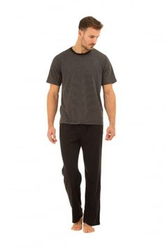 5f5cfc3689 Mens Black Cotton Long Trouser   T-Shirt Pyjama Set