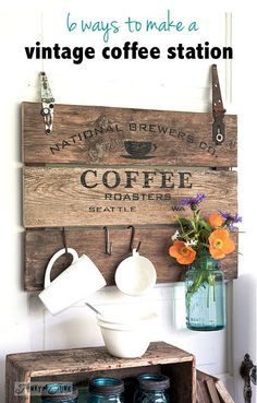 6 ways to make a vintage coffee station... upcycled style! By Funky Junk Interiors for ebay.com