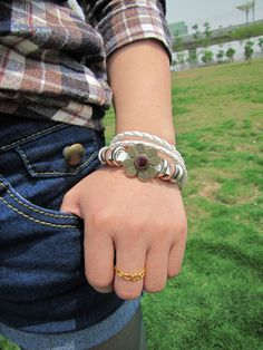 White Leather Woven with Copper Flower Women or by braceletcool, $7.50