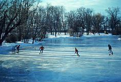 Nothing better than playing Ice hockey in the winter on a frozen pond.