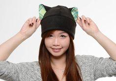 Green Plaid Cat Hat Fleece Kitty Cat Hat Cat Ears Hat