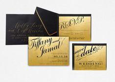 Black and Gold Wedding Invitation, Gold Foil, Modern Wedding, Digital Wedding Invite, Gold Wedding, Classy, Black Tie, Faux Gold Foil