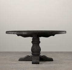 Salvaged Wood Trestle Round Dining Table in Salvaged Black from Restoration Hardware