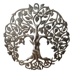 This beautiful wall art is created from a 55 gallon steel drum. A Haitian artisan uses a hammer and chisel to hand cut the design from the metal. This wall piece is one of the most recognized in the Haitian metal art industry. 55 Gallon Steel Drum, Art Industry, Hammer And Chisel, Brushed Metal, Metal Finishes, Beautiful Wall, Tree Of Life, Fair Trade, Metal Art