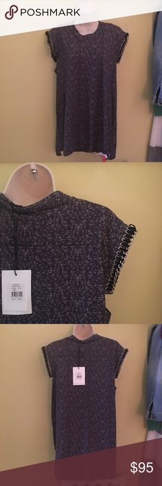 Sass and Bide gray top chain sleeve M NWT Sass and Bide gray tune in Tokyo top in S NWT chain sleeve trim cotton fall sass & bide Tops Blouses