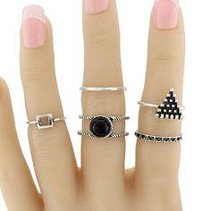Alloy Circle Geometric Jewelry Ring Set #jewelry, #women, #men, #hats, #watches, #belts