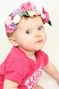 Baby Girl First Birthday Photo- Felt Flower Head Band