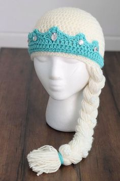 Items similar to Elsa inspired hat – frozen – queen elsa – all sizes available – princess hat on Etsy Crochet Kids Hats, Crochet Beanie, Knitted Hats, Knit Crochet, Crochet Video, Easy Crochet, Princess Hat, Princess Crowns, Crochet Baby Hats
