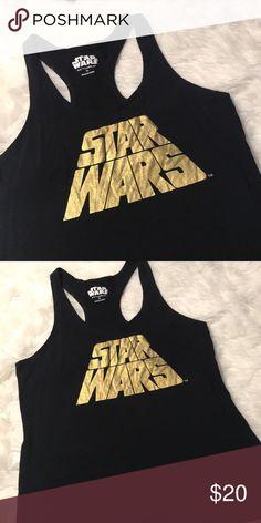 Star Wars racerback tank Size XL. STAR WARS in written in gold. 18 bust 27 length. Star Wars Tops Tank Tops