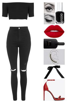 """oh no, here we go"" by emmmalaw ❤ liked on Polyvore featuring Topshop, Essie, Lime Crime, Tom Ford, Bocage and Yves Saint Laurent"