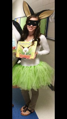 Book Character costume: Lady Skippyjon Jones! Very inexpensive and easy! Black eye mask, white long sleeve shirt, tan pants, green tutu, green cape (not pictured), and construction paper ears (black paper and manilla paper folded and hot glued onto a head band)!