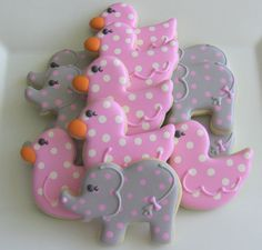 One Dozen Baby Elephant and Duck Decorated Sugar Cookies Duck Cookies, Fancy Cookies, How To Make Cookies, Cupcakes, Cupcake Cookies, Sugar Cookies, Iced Cookies, Cookie Frosting, Royal Icing Cookies