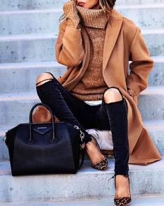 #winter #fashion / Camel Coat & Turtleneck + Luxe/destroyed denim (is it velvet!?)