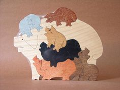 Pile of Pigs Hogs Piglets Farm Puzzle Wooden Toy Hand by Puzzimals, $13.49