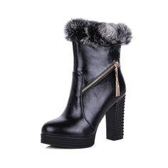 AmoonyFashion Women's High-Heels Solid Round Closed Toe Soft Material Zipper Boots with Charms ** For more information, visit image link.