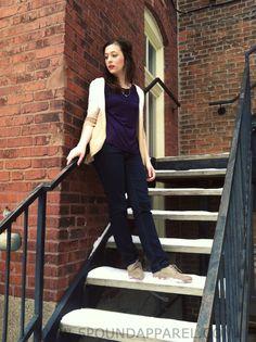 Ombre tan cardigan. Lace top. Arrow necklace