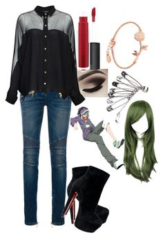 """""""easy outfit"""" by digestive-biscuit ❤ liked on Polyvore featuring Balmain, Gucci, Christian Louboutin, John Lewis and Disney"""