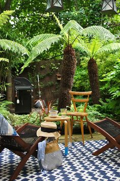 Small Tropical garden - The Reluctant Gardener Christine's London Oasis. - Small Tropical garden – The Reluctant Gardener Christine's London Oasis… - Small Tropical Gardens, Tropical Garden Design, Tropical Plants, Small Gardens, Tropical Landscaping, Modern Gardens, Exotic Plants, Ferns Garden, Shade Garden