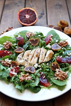 Tuscan Chicken Salad - refreshing spinach and arugula mix with nuts, fruit and feta drizzled with delicious balsamic dressing