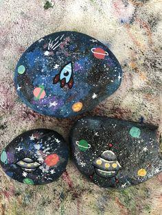Space painted rocks